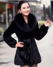 Wholesale hot sale Noble temperament new imitated fur long female in mink fur coat Fox collars beaver rabbit female fashion mink coat