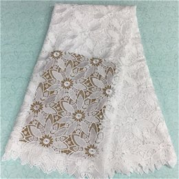 Hot sale white african lace fabric with flower embroidery french water soluble lace for party dress BW65-6,5yards pc