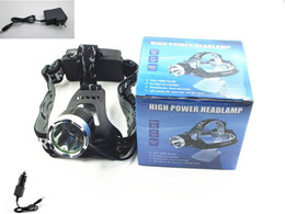 Wholesale Headlamp Lm CREE XM L T6 LED Rechargeable Headlight Front Light include AC Charger and Car Charger
