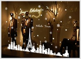 Wholesale Hot Newest Merry Christmas Snowflakes modern City mural wall window Wall Sticker decal sticker holiday Christmas Decor Free DHL W868