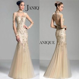 Janique 2016 Beads Sheer long sleeve Mother of the Bride Dresses sheer high neck lace applique beads mermaid prom evening formal gowns W321