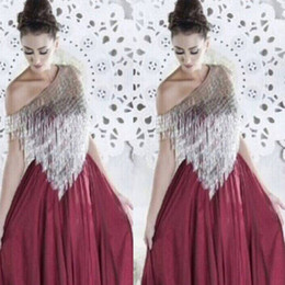 2015 Wine Red Evening Dresses Silver Tassels Asymmetrical Neckline Chiffon Floor-Length Prom Party Dresses vestido de formatura