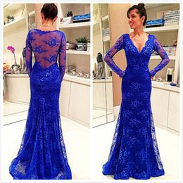 Royal Blue Lace V-Neck Evening Dresses Long Sleeves See Though Back Mermaid 2015 Prom Gowns Sweep Train Long Formal Occasion Dress