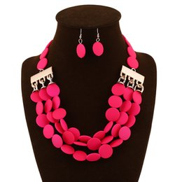 Wholesale New High Quality Beaded Necklace And Earring Sets Accessories artificial resin teardrop chain link bubble statement jewelry sets