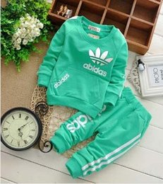 Wholesale 2015 Spring Fall Baby Clothing Set Children Boys Girls Kids Brand Sport Suits Tracksuits Cotton Long Sleeve Shirt Pants