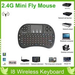 Wholesale 20pcs G Touch Fly Air Mouse Rii Mini i8 Wireless Keyboard Mouse chargeable battery Black and White Portable G with TouchPad DHL