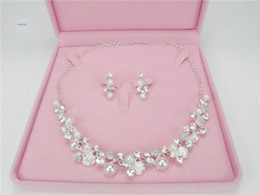 Wholesale Cheap Faux Pearl Jewelry - Hot Sale Free Shipping In Stock Women Elegant Round pearl Rhinestone Bridal Necklace & Earrings Cheap Wedding Accessories Jewelry Set NE006
