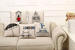 Wholesale Back Cusion cover Pillow Case Cute Cartoon Printed London style Big Ben Tower Brige Cotton Linen Hold pillowcases N01338