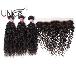 UNice Hair Virgin 4 Bundles With Frontal Brazilian Curly Wave Ear to Ear Hair Weaves With Curl Wave Lace Frontals Remy Human Hair