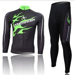 Al por mayor-caliente! Los hombres de bicicletas MERIDA Equipo Riding manga Trajes largos ciclo Jersey + (BIB) Pantalones Camisa caliente Medias Sets S-4XL desde ciclismo camisa de mérida fabricantes