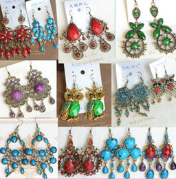 10Pairs Lot Mix Style Mix Colors Fashion Dangle Earrings For Gift Craft Jewelry Earring EA036 Free Shipping