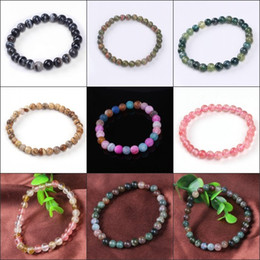 Wholesale 10Pcs Charms Natural Different Agate Quartz Crystal Gemstone Round Shape Beads Stone Beaded Bracelets Jewelry 6mm