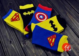 5 Design Cartoon Superhero Socks Batman Captain America Superman socks Adult socks cartoon mens socks Cartoon sports socks