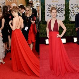 Wholesale Amy Adams Red Sexy Halter Neck Backless A Line Celebrity Formal Prom Dress Golden Globe Awards Red Carpet evening dresses