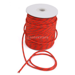 Wholesale-New Arrivals 2015 MagiDeal Fluorescent Reflective Guy Line Tent Canopy Camping Rope 50M Red Free Shipping