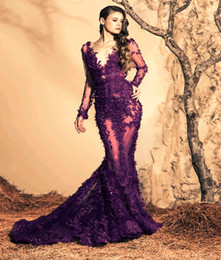 Sirena capilla entrenan púrpura en Línea-2015 Ziad Nakad púrpura del cordón de la sirena vestidos de noche sexy escote en V manga larga con cuentas Apliques transparentes vestidos formales Capilla Tren