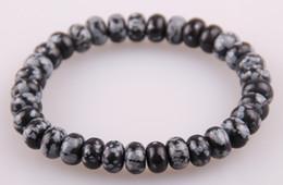 Wholesale Hot Sale Jewelry Energy BraceletsNatural Onyx Jade Agate Snowflake Obsidian Abacus Elastic Stone Strand Bracelet