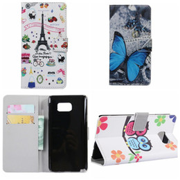 Wholesale Butterfly Eiffel Tower UK USA Flag Flower OWL Wallet Leather For Galaxy Note5 S7 edge Plus Active C5 C7 J120 A3 A5 S6 Edge Plus Zebra Flip