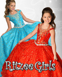 Ritzee 2015 Tulle Hunter Girls Pageant Dresses Sleeveless Red White Lace up Iridescent Flowers Girls Dress Ball Gown 6904