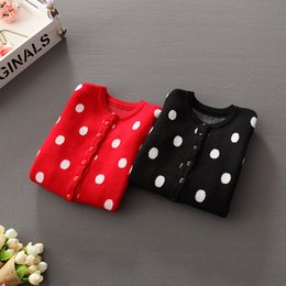 Wholesale 2016 Popular Girls Sweater dot cardigan Children Winter Knitted formal wool sweater O neck all matching Fashion color cardigans for kids