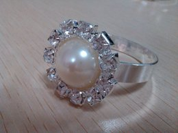 3CM Diameter Round Ivory Color Wholesale Rhinestone & Pearl Round Napkin Ring For Wedding,Banquet,Hotel Use