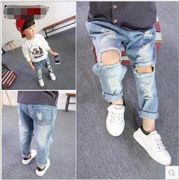 Fashion Kids Boys Denim Pants Baby Boy Wash Blue Hallow Out Jeans 2016 Babies Korean Style Wholesale Clothing Boy Clothes