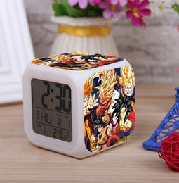 Wholesale New Dragon Ball Super Saiyan Pattern LED Digital Alarm Clock Colors Change Automatically with Thermometer