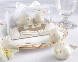 Wholesale Party Decoration sets each Set ceramic Cuckoo Shaker Salt Pepper Shakers Love Birds Wedding Favor Baby Shower Gifts