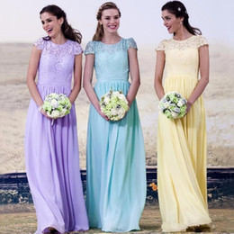 2016 Country Bridesmaid Dresses Lace Appliques Summer Chiffon Lilac Yellow Long Floor Length Wedding Guest Wear Maid of Honor Formal Gowns