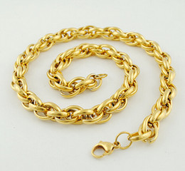 New Middle Eastern Style Gold Plated Pure 316L Stainless steel Charming Twist Oval Rope Chain Link Necklace in Men Jewelry 9mm 24''