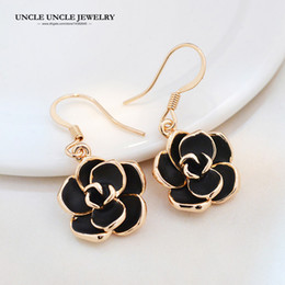 Rose Gold Color Fashion Design Classic Black Rose Style Woman Drop Earrings Wholesale