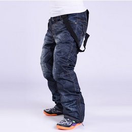 Wholesale New branded old style denim suspenders thickened snowboard pants for men Wear waterproof windproof breathable ski pants