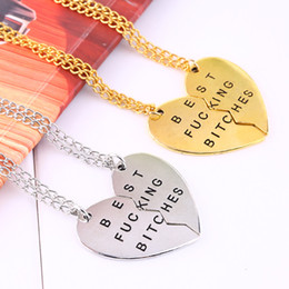 Wholesale-Pendant friendship Broken Heart Pendant Necklace silver gold chain Statement Choker Necklace best bitches for you Jewelry women