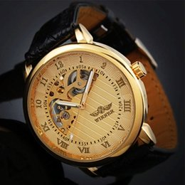 Wholesale 2015 Hot Sale Promotional Price Winner Mens Gold Skeleton Hand Wind Mechanical Watch Men s Fashion Leather Wristwatches