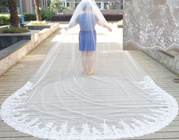 3m *4m Cathedral Wedding Veils Two Layers White Ivory Bling Bling Sequins White Ivory Lace Tulle Real Photo Wedding Dresses Veil