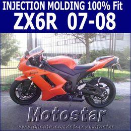Injection molding 100% fit for Kawasaki ZX6R fairings 2007 2008 Ninja ZX 6R 636 orange black fairing kit 07 08 NJ16