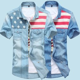 Wholesale- New Men Jeans Shirts Summer 100% Cotton Water Washing Male Tops Short Sleeve American Flag Denim shirt For Men