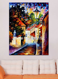 Modern Palette Knife A Part of The City Attractive Street Building Painting Printed on Canvas for Living Room Bedroom Decoration