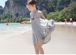 Wholesale 2015 Teenagers big kids Maxi Dresses Baby girl Sleeveless Modal Dress Children s summer korean clothing
