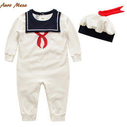 Wholesale Navy Style Baby Girls Romper With a Hat White Cotton Baby Onesie Newborn Bebes Clothing