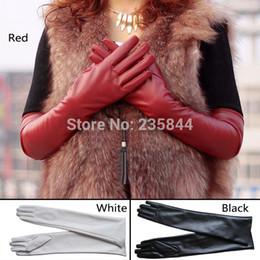 Wholesale-A1 Womens Lambskin Leather Opera Long gloves BLACK Lambskin Warm Lined H6516 P