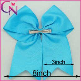Wholesale Large Solid Grosgrain Cheer Bow For Girls Handmade quot Cheerleading Hair Bow With Clips Colorful Cheer Bow CNHB
