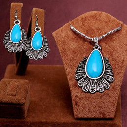 2PCS Newest Arrival Romantic antique silver red green blue black water drop beads Design Necklace Earrings Jewelry Set women's gift