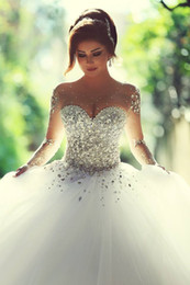 Sweetheart Crystals Ball Gown Wedding Dresses Sheer Long Sleeves Lace-up Illusion Neck Princess Chapel Train Wedding Gowns Senior Custom Mad