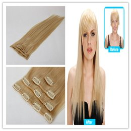 Clip in Remy Human Hair Extensions 4pcs set 50g 6a Unprocessed Virgin Remy Hair Clip In Human Hair Extensions 613 Blonde Hair