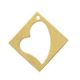 Copper Blank Stamping Tags Pendants Rhombus Light Golden Heart Pattern 26.0mm x 26.0mm,50 PCs 2015 new