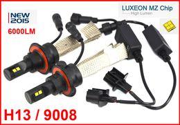 Wholesale 2 Sets H13 W LM CREE LED Headlight Kit LUXEON MZ CHIP High Low Beam Xenon White K V Copper Belt H4 LED Kit