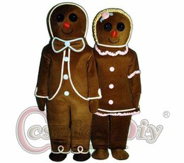 Wholesale Custom made Cartoon character gingerbread man Mascot Adult Costume for Halloween and Christmas party and promotion carnival