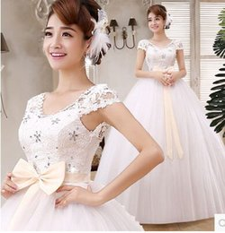 Wholesale New arrival hot sale fashion sweety lace luxury flowers diamond princess Korean custom bow pregnant belly bride wedding dress
