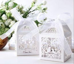 Wholesale 5 cm Wedding Favor small Boxes Floral Theme Laser Cut Favor Box With Bowknot